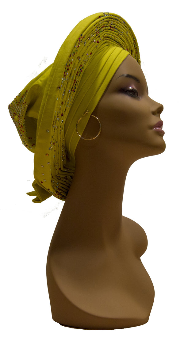 Auto Gele Yellow - AFRIKAN ATTIRE - #african_clothing -