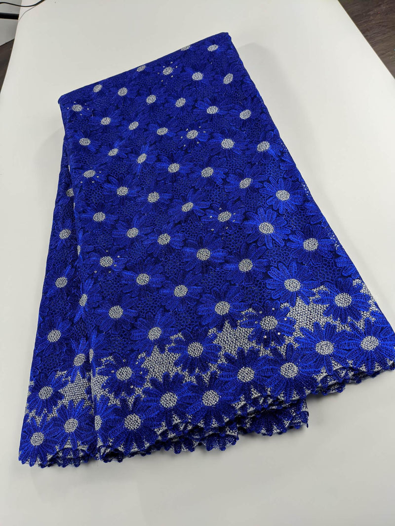Blue & Silver Cotton Lace