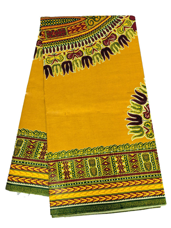 Mustard Yellow Dashiki Print Wax