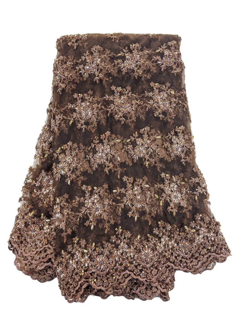 Heavily Beaded Brown French Net Lace