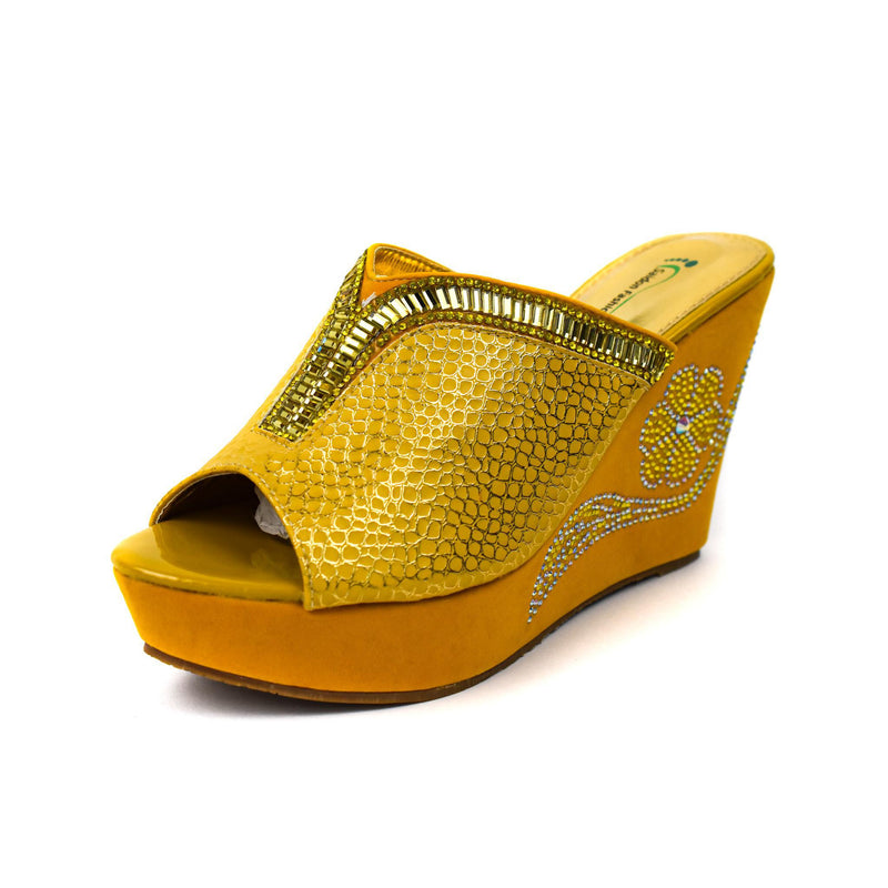 Yellow Wedge Sandal Slippers