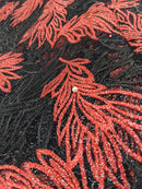 Black & Red French Net Lace