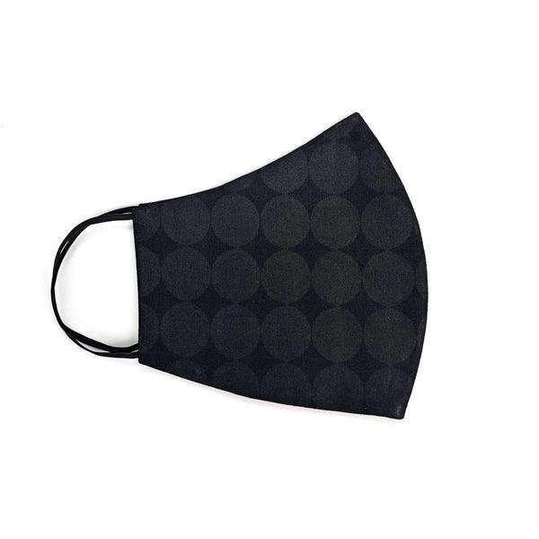 Pre-washed  Circular Black Ankara Face Mask with Disposal Filters