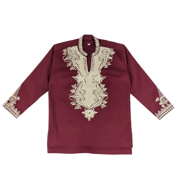 Men's Collard Wine & Gold Embroidery Long Sleeve Top