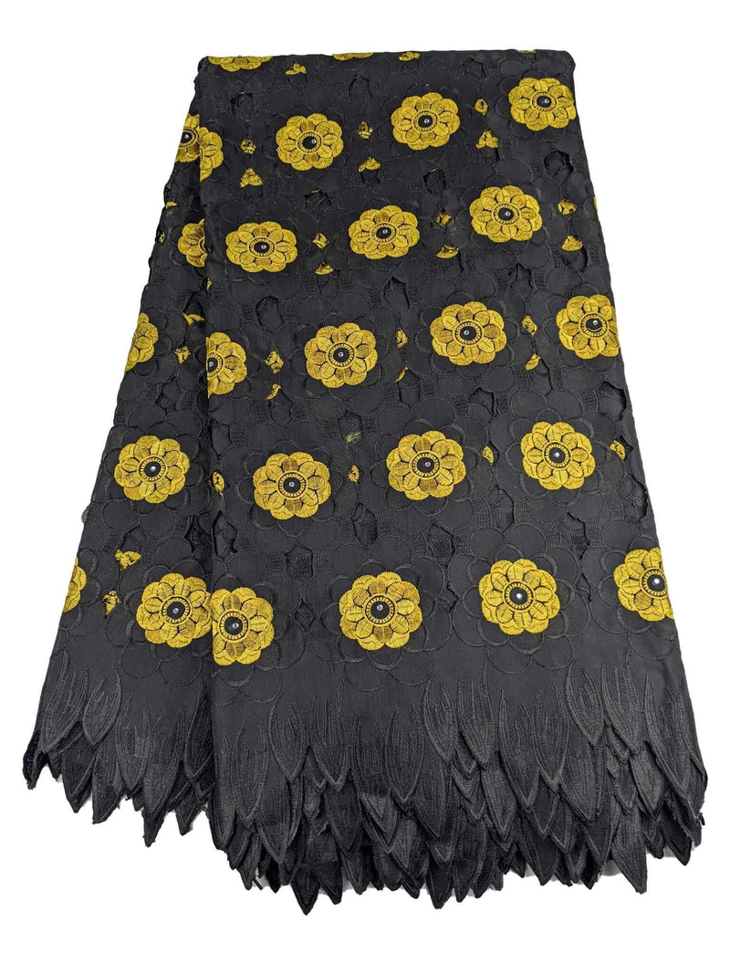 Black & Yellow Handcut Cotton Lace