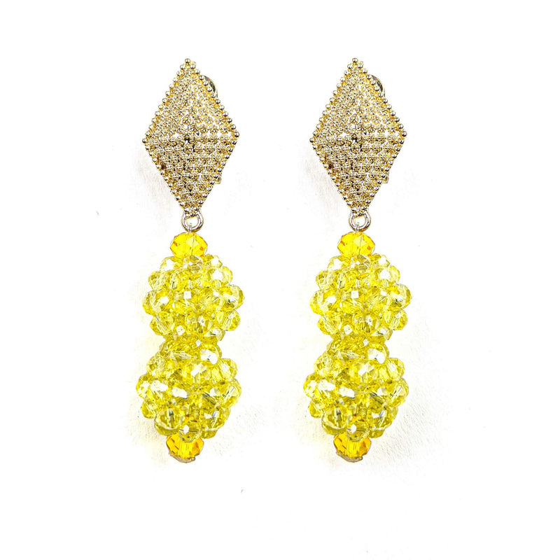 Yellow Beaded Earrings