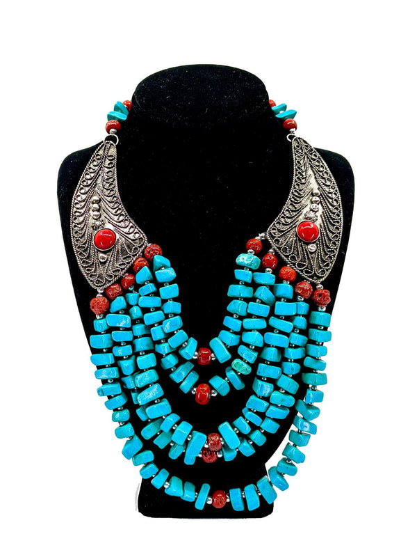 Beaded Turquoise Winged Necklace Set - AFRIKAN ATTIRE - african_clothing - - african_attireAFRIKAN ATTIRE - african_fashion