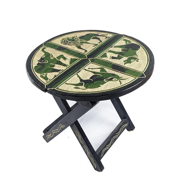 Green Handcrafted Circular Carved Wood Folding Table