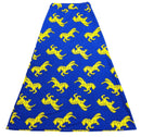 Blue & Yellow Horse Print Long Skirt