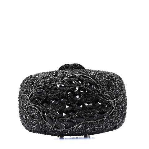 Black Crystal Detailed Clutch Purse - AFRIKAN ATTIRE - #african_clothing -