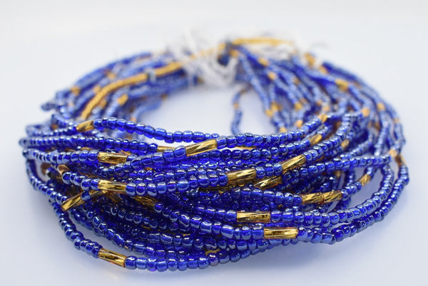 Blue & Gold African Waist Beads - AFRIKAN ATTIRE - african_clothing - - african_attireAFRIKAN ATTIRE - african_fashion