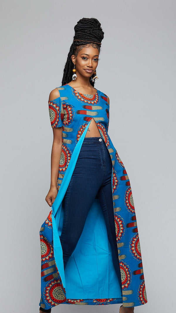 Blue Tunic Wax Print Dress w/Scalf - AFRIKAN ATTIRE - #african_clothing - TOP