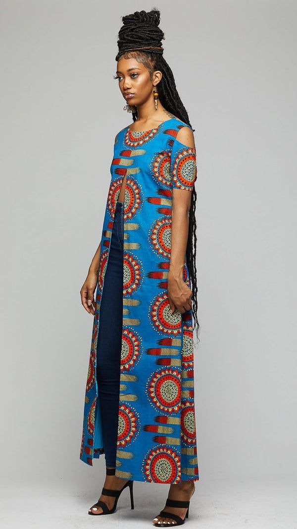 $$Blue Tunic Wax Print Dress - AFRIKAN ATTIRE - african_clothing - Apparel - african_attireAFRIKAN ATTIRE - african_fashion