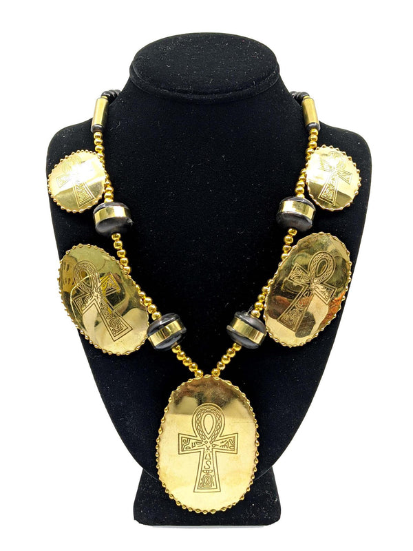 Brass Ankh 2pc Set - AFRIKAN ATTIRE - african_clothing - - african_attireAFRIKAN ATTIRE - african_fashion