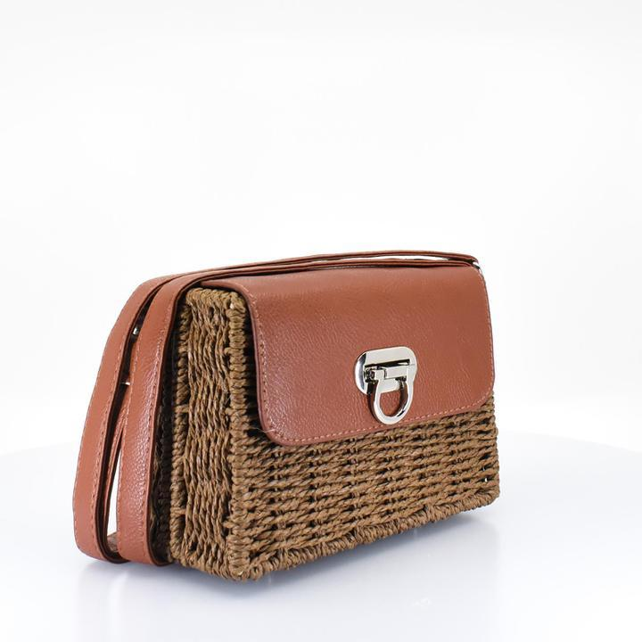 Brown Woven Straw Crossbody Bag Copy - AFRIKAN ATTIRE -