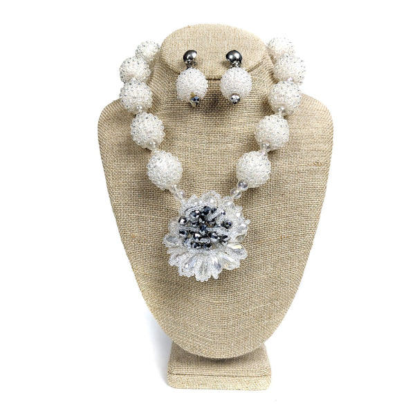 White Ball Beaded Necklace