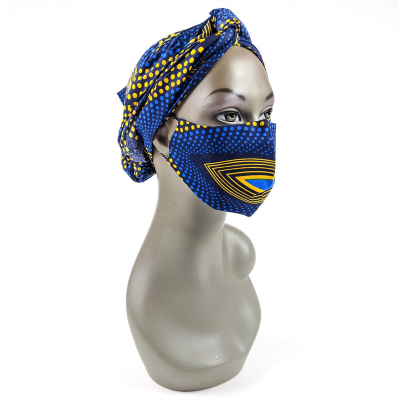 Handmade (Ankara) Cloth Face Mask with Head Scarf Disposal Filters