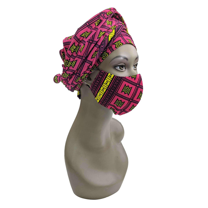 Ankara Face Mask with Head Scarf and PM 2.5 Face Cover Disposal Filters