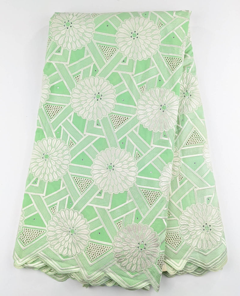 Green & Silver Cotton Lace