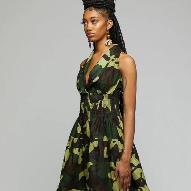 $$Camouflaged Smoked Dress - AFRIKAN ATTIRE - african_clothing - Apparel - african_attireAFRIKAN ATTIRE - african_fashion