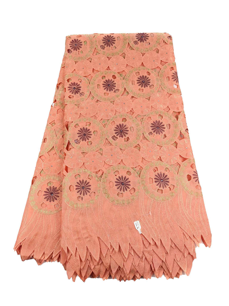 Peach & Gold Cotton Lace