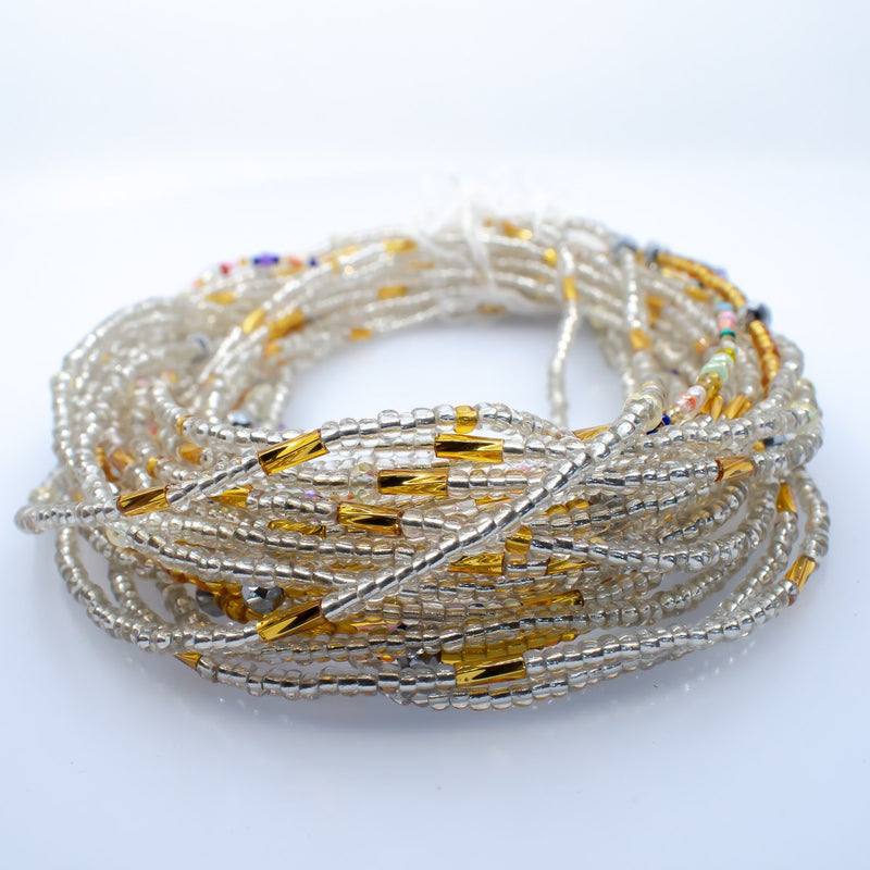 Clear Gold African Waist Beads - AFRIKAN ATTIRE - african_clothing - - african_attireAFRIKAN ATTIRE - african_fashion