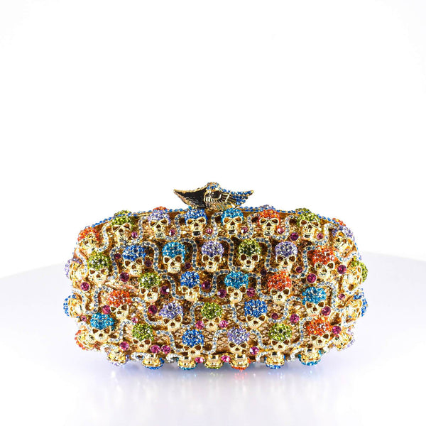 Colorful Crystal & Bones Clutch Purse - AFRIKAN ATTIRE - #african_clothing -