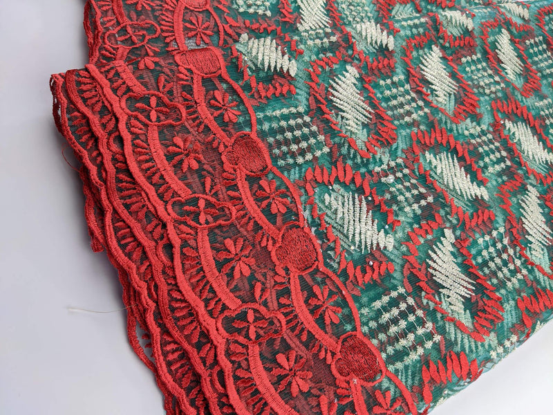 Red & Green Net Lace