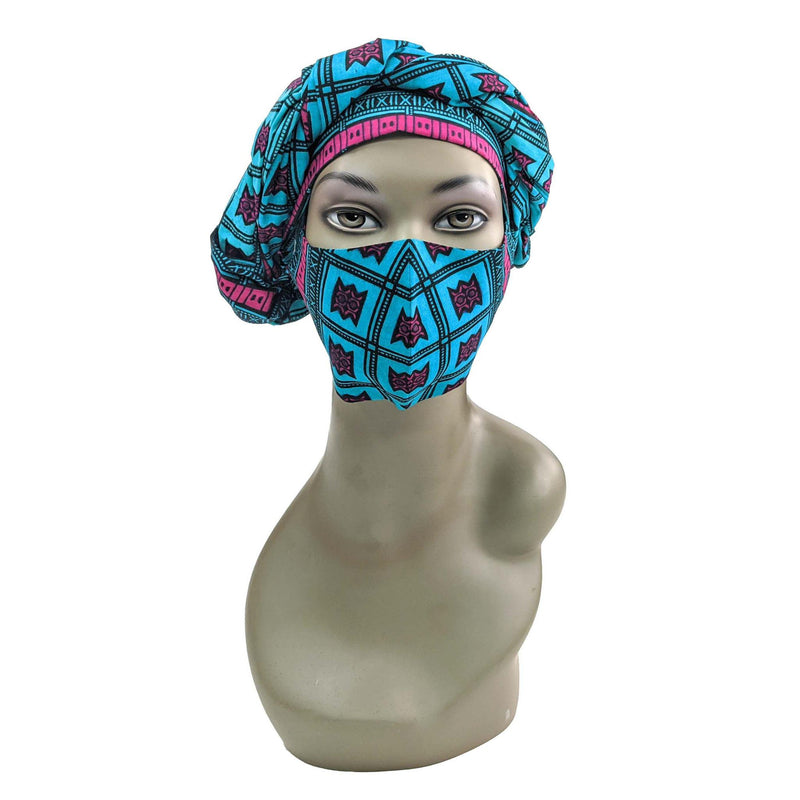 Blue Handmade Ankara Cloth Face Mask with Head Scarf and PM 2.5 Face Cover Disposal Filters
