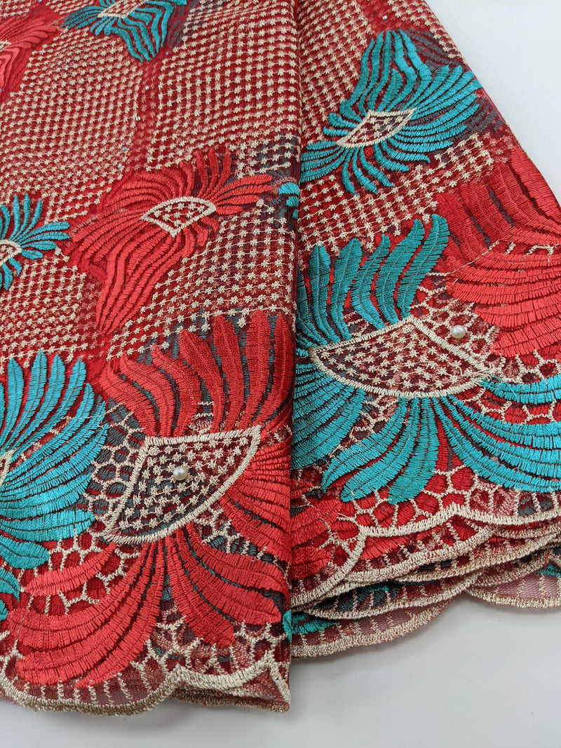 Red & Green French Net Lace