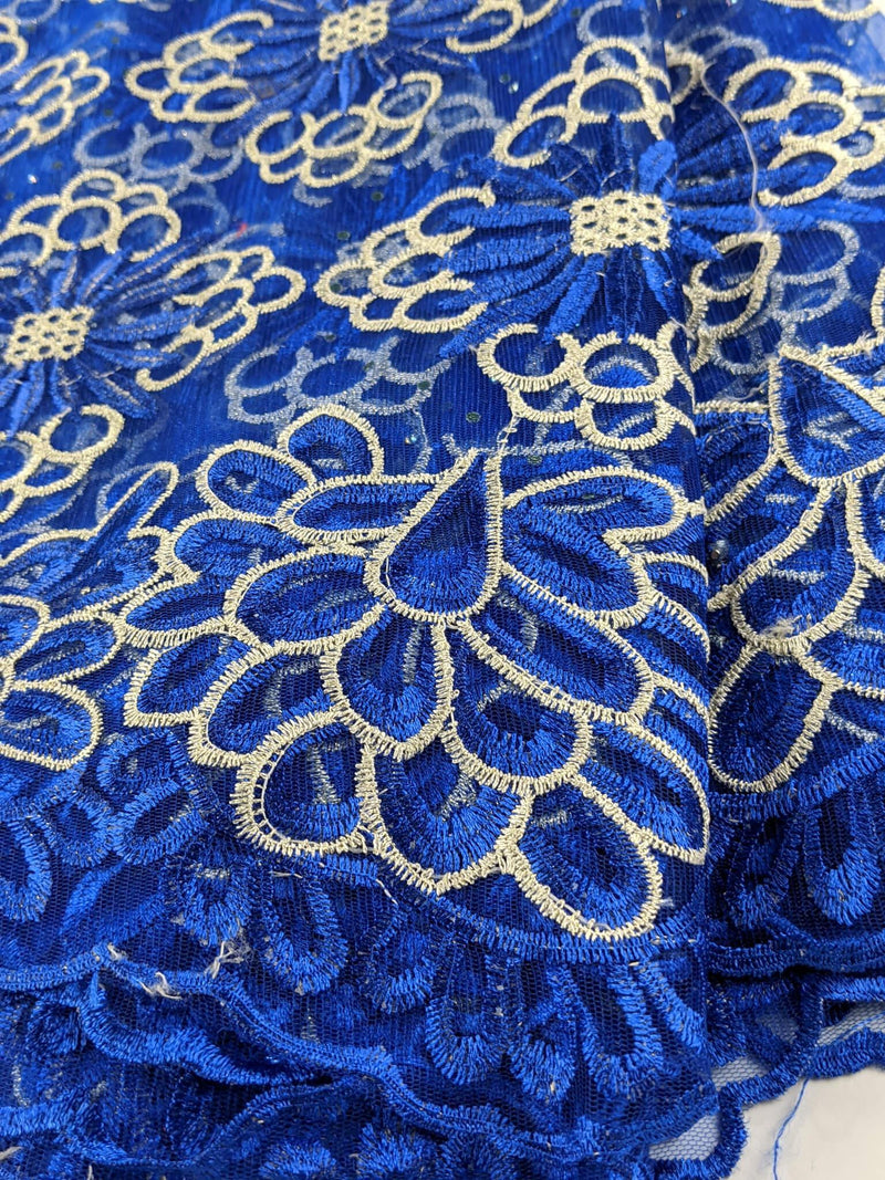 Blue & Gold French Net Lace