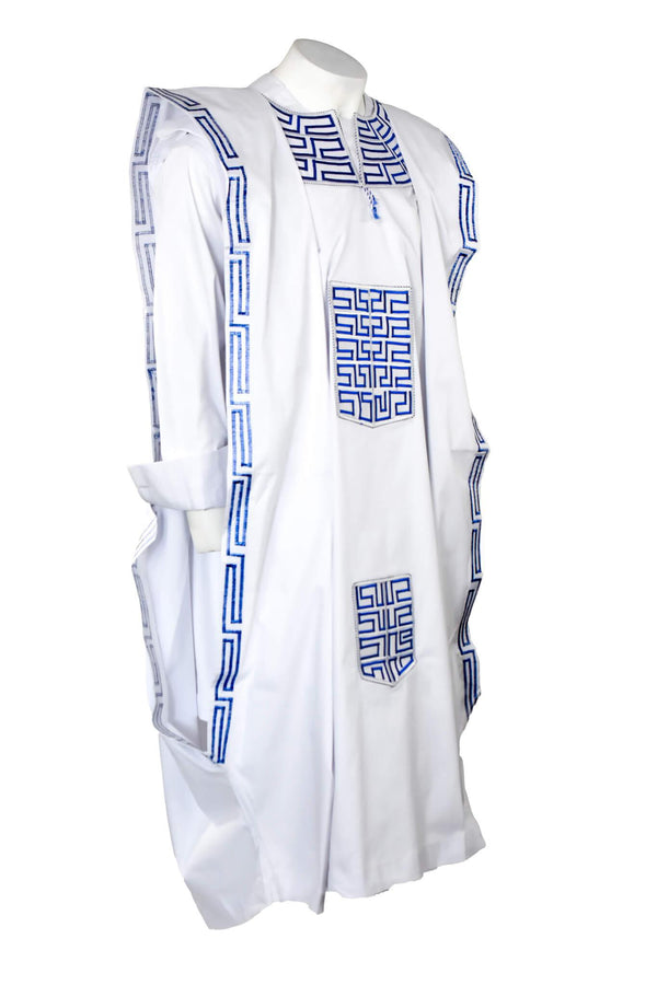 White & Blue  Agbada 3pc Set