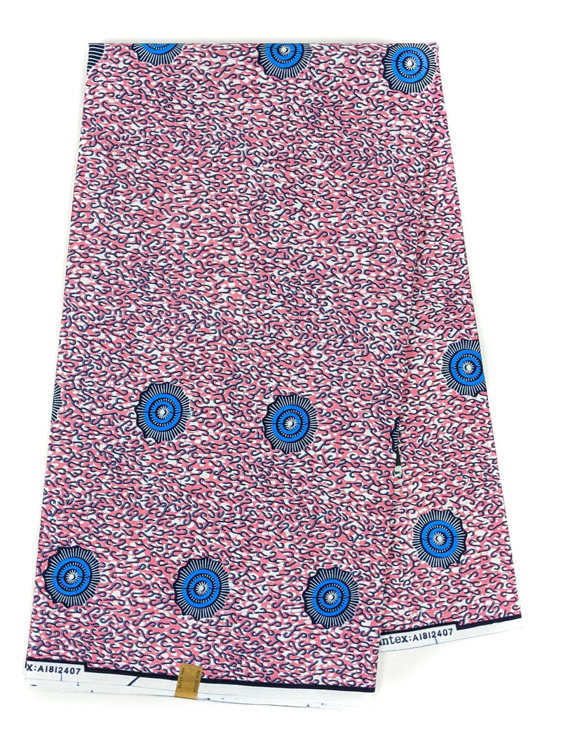 Pink and Blue Ankara Wax Print