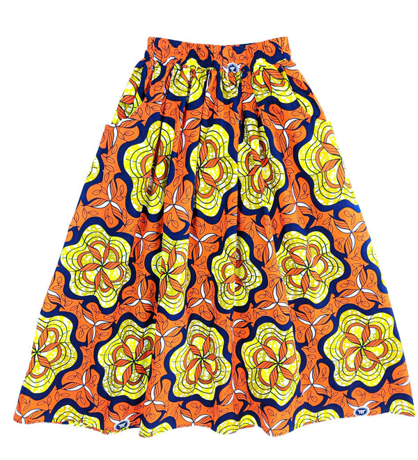 Handmade Orange Multi Floral  Ankara Print Midi Skirt