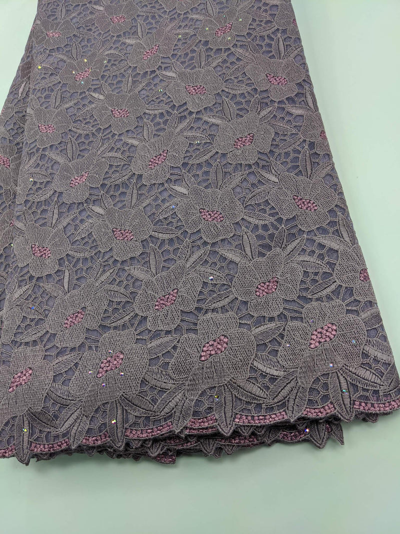 Purple & Pink Cotton Net Lace
