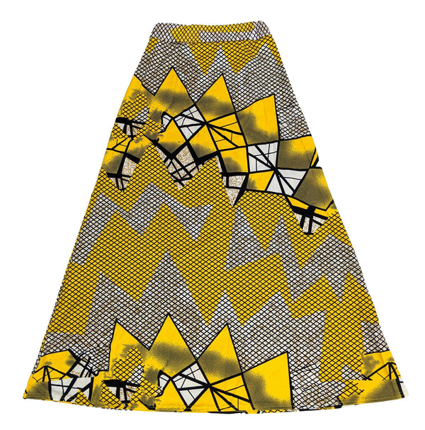 Yellow & Black Print Long Skirt