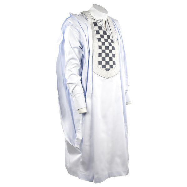 White & Black Agbada 3pc Set