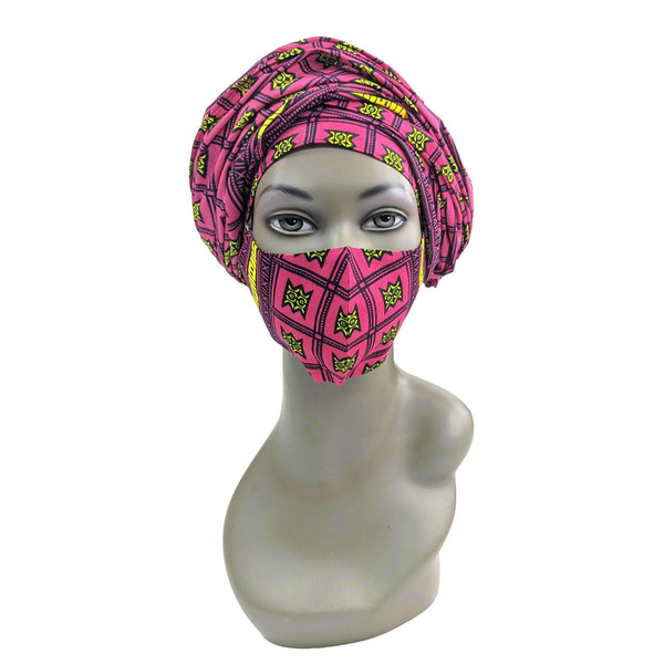 Pink Ankara Head Scarf and Face Cover