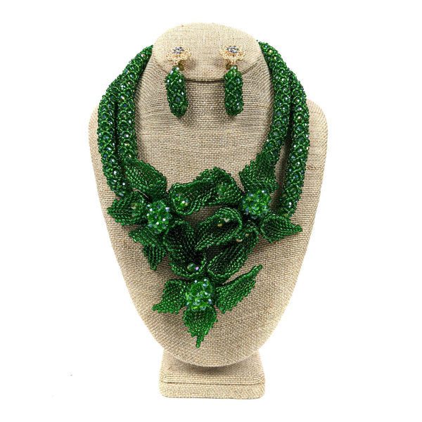 Green Petal Flower Beaded Neckpiece Set