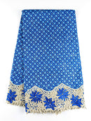 Blue African Wax with Cord Lace Fabric - 5 yards