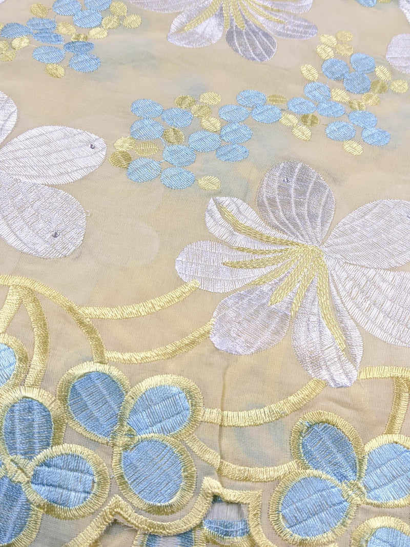Yellow, Sliver & Blue Cotton Lace