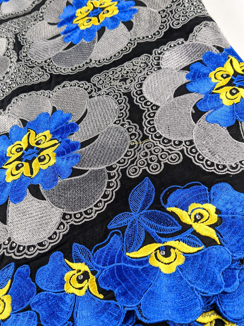 Blue, Black & Yellow Voile Lace