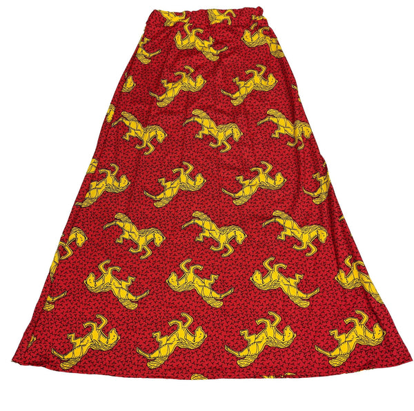 Red & Yellow Print Long Skirt
