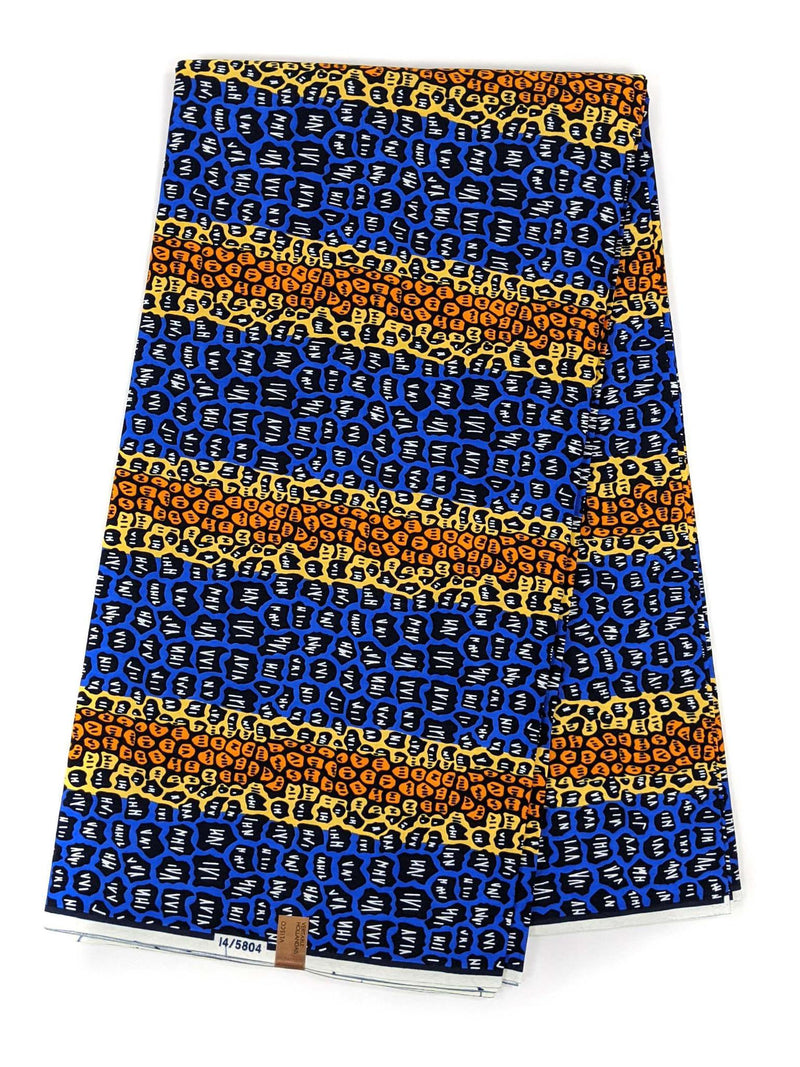 Blue and Orange Color Ankara Wax Print