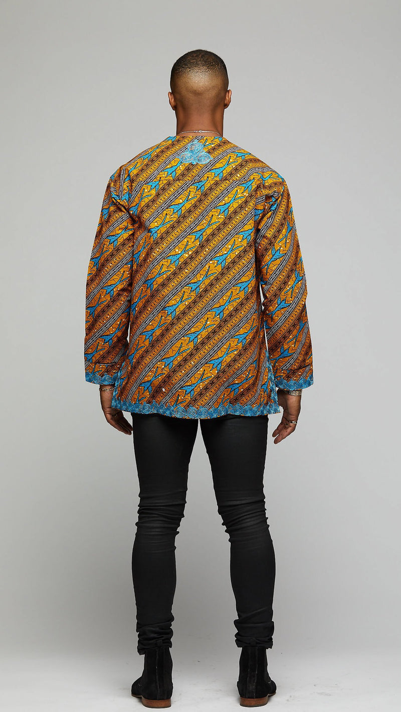 $$Elegant Embroidered Long-sleeve Dashiki - AFRIKAN ATTIRE - african_clothing - Apparel - african_attireAFRIKAN ATTIRE - african_fashion