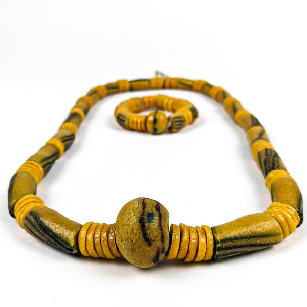 Ghanaian Krobo Bead Necklace and Bracelet (Heavy Set)