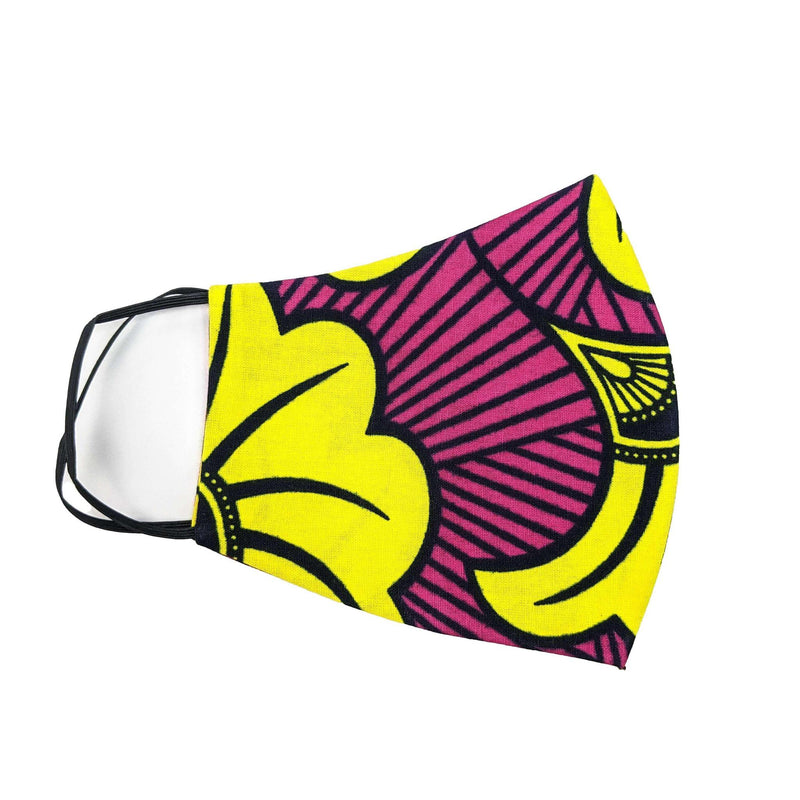 Pink & Yellow Ankara Head Scarf and Face Cover
