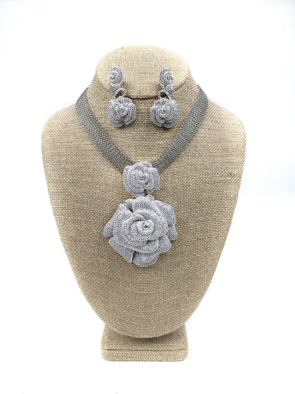 Silver Floral Necklace Sets