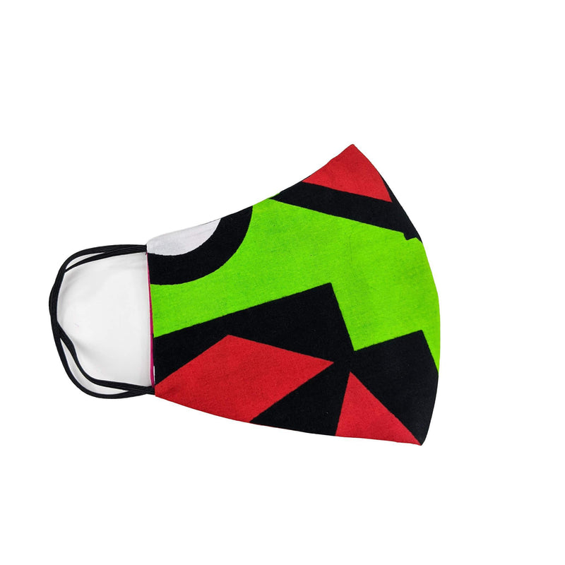African-print-face-mask-green-and-red