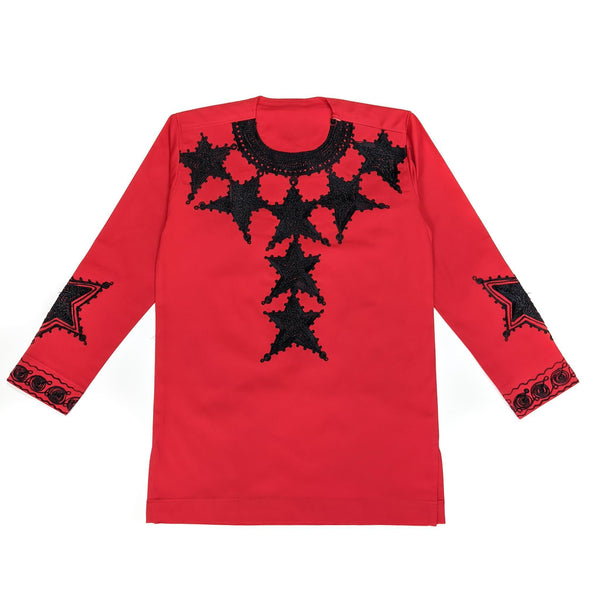 Red Embroidered Long Sleeve Top